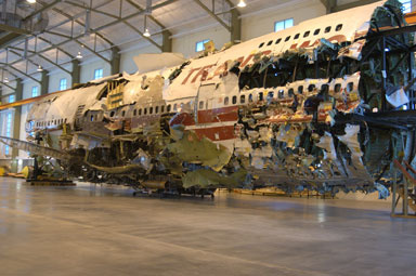 Reconstruction of TWA Flight 800 at the NTSB Training Center.