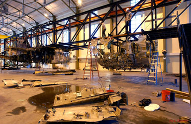 Reconstruction of TWA Flight 800 in progress.