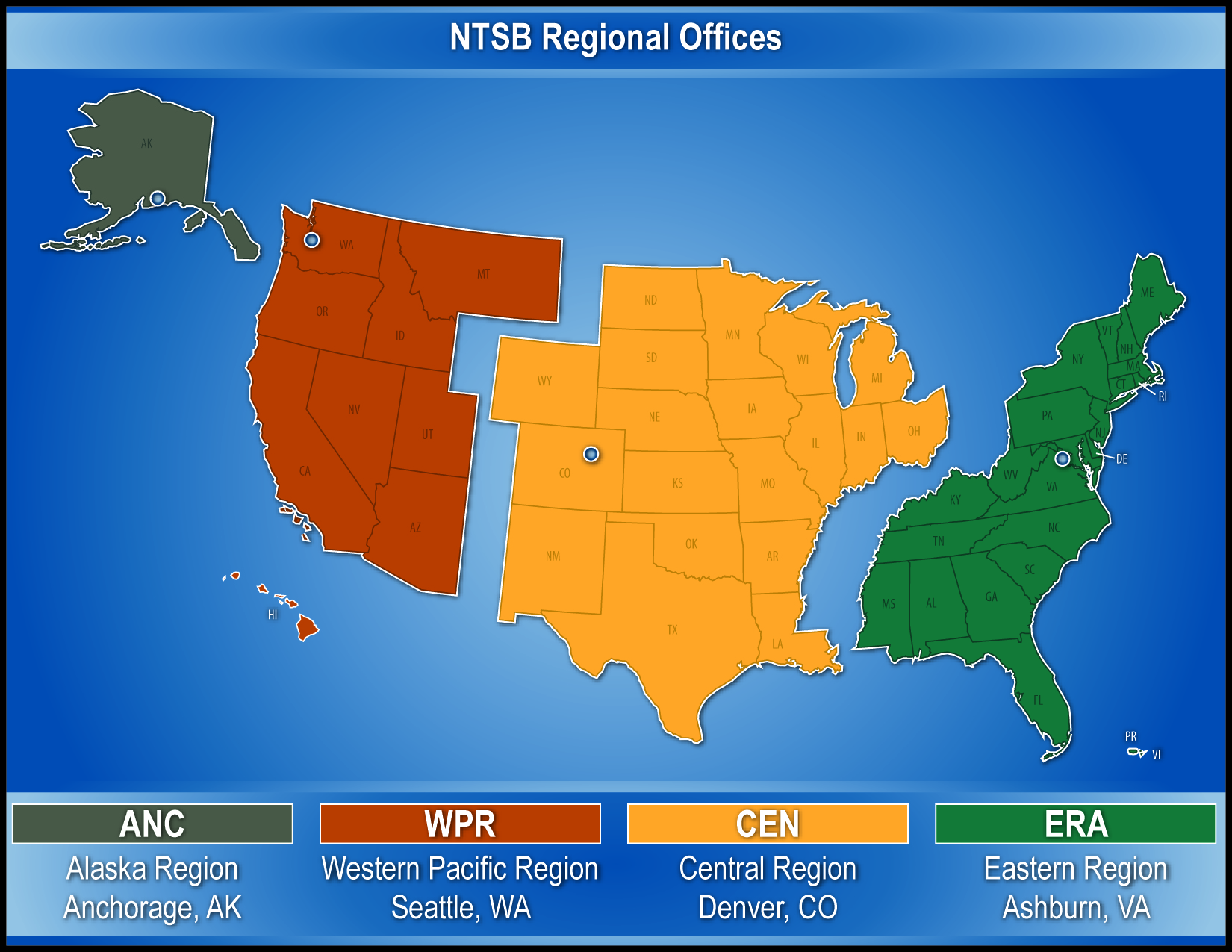 Map of the US showing NTSB regions