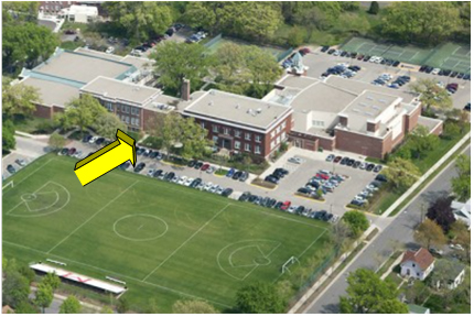Aerial view of Minnehaha Academy that shows the campus.