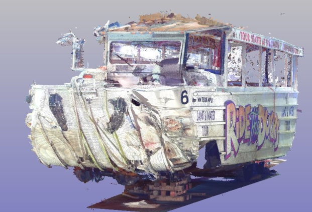 Figure 1:  Linked 3D laser scans depicting frontal damage on the accident DUKW vehicle.