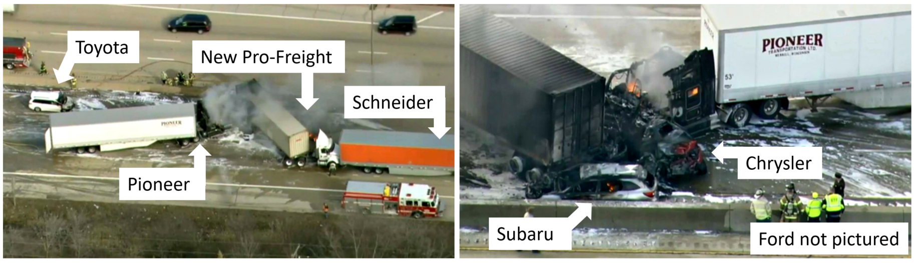 Scene views of six of the vehicles at final rest on eastbound I-290.