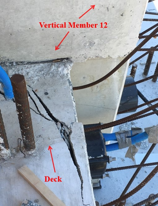 Diaphragm II, east side directly adjacent to vertical member 12, top of deck looking down view of crack.