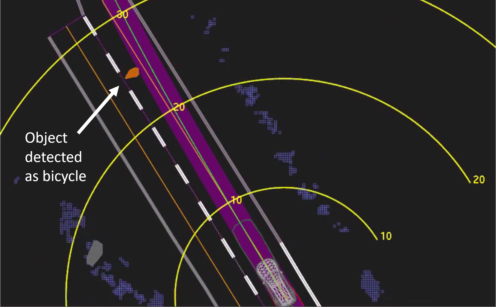 View of the self-driving system data playback at about 1.3 seconds before impact.