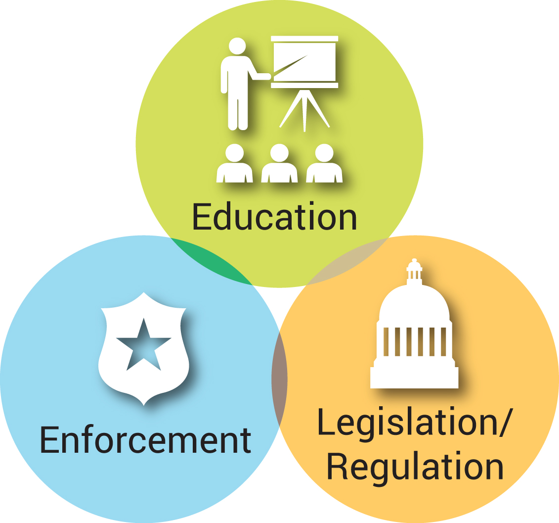 graphic depicting the three-pronged approach that includes strict laws, proper education, and effective enforcement.