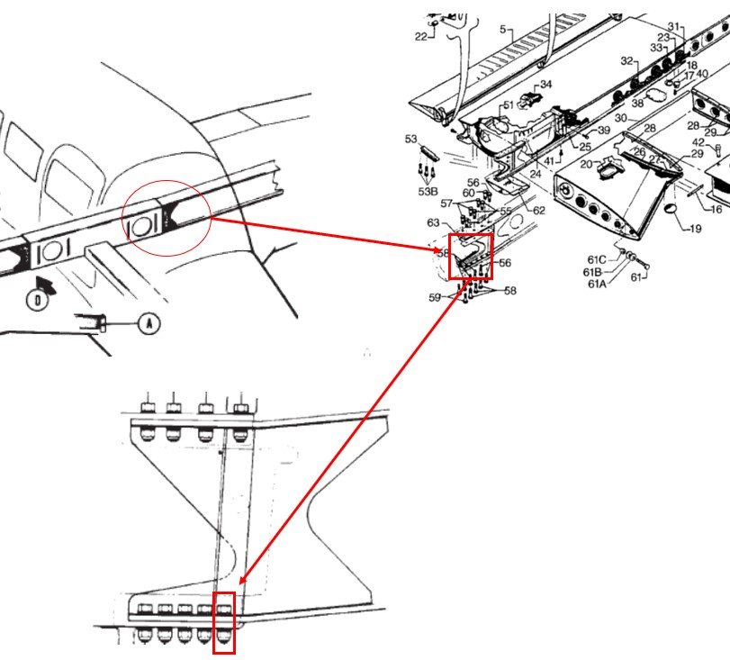 NTSB graphic highlights the left-wing assembly and attachment bolt for a Piper PA-28R-201.