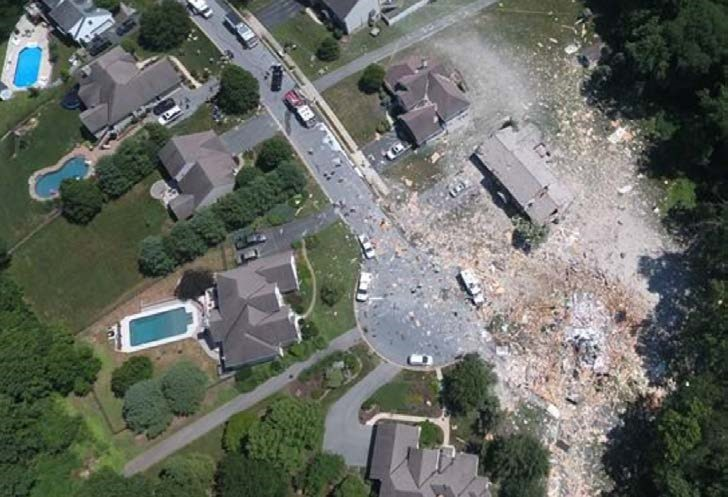 Photo of the damage caused by the natural gas fueled explosion at Millersville, Pennsylvania.