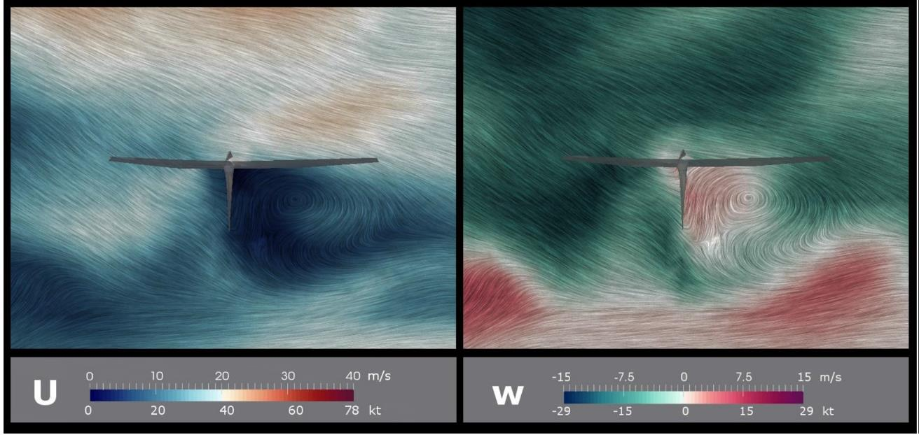 This figure is a vertical cross-section visualization of wind simulation results