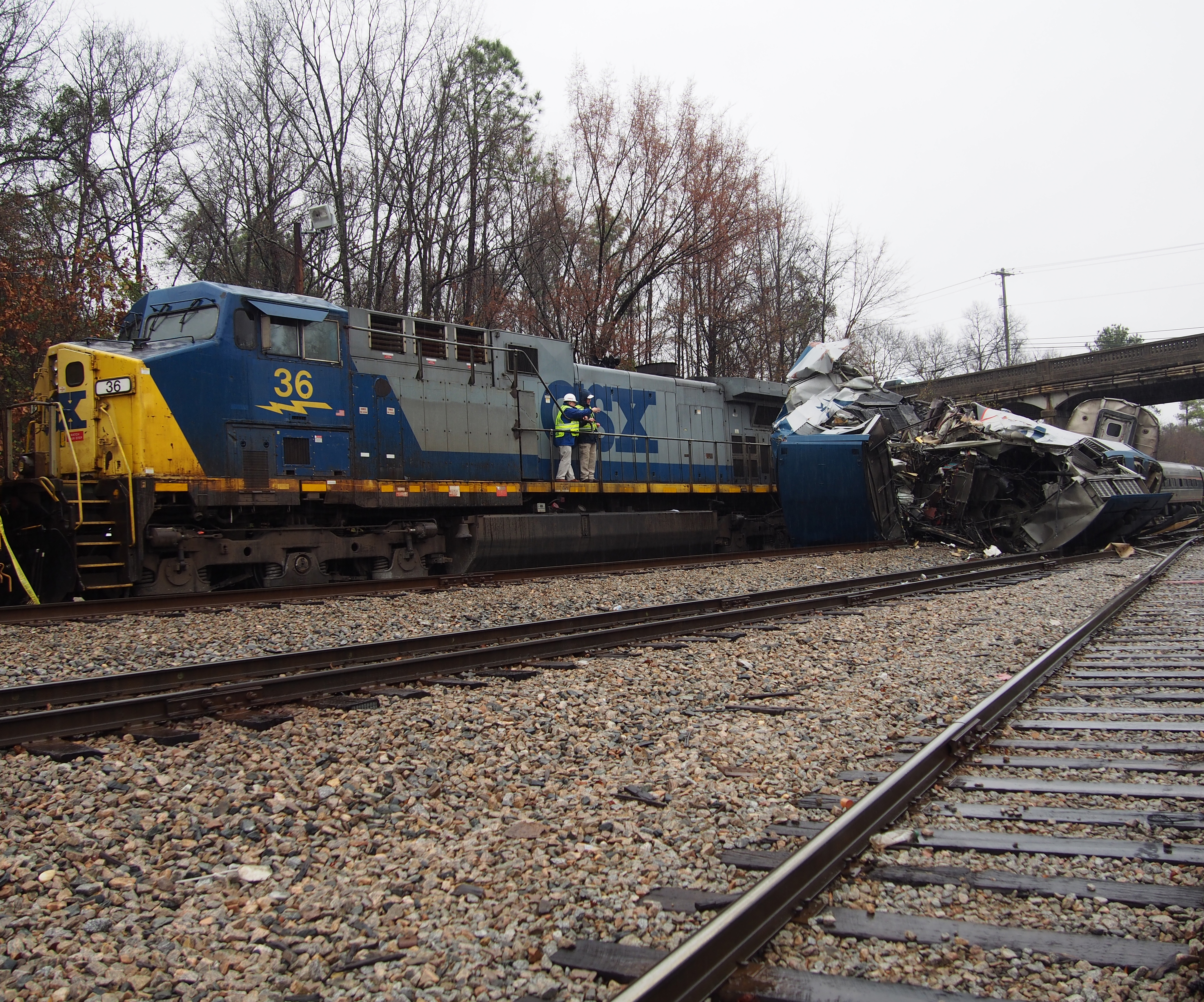 Derailed and damaged equipment on the Silica Storage track near Cayce, South Carolina.