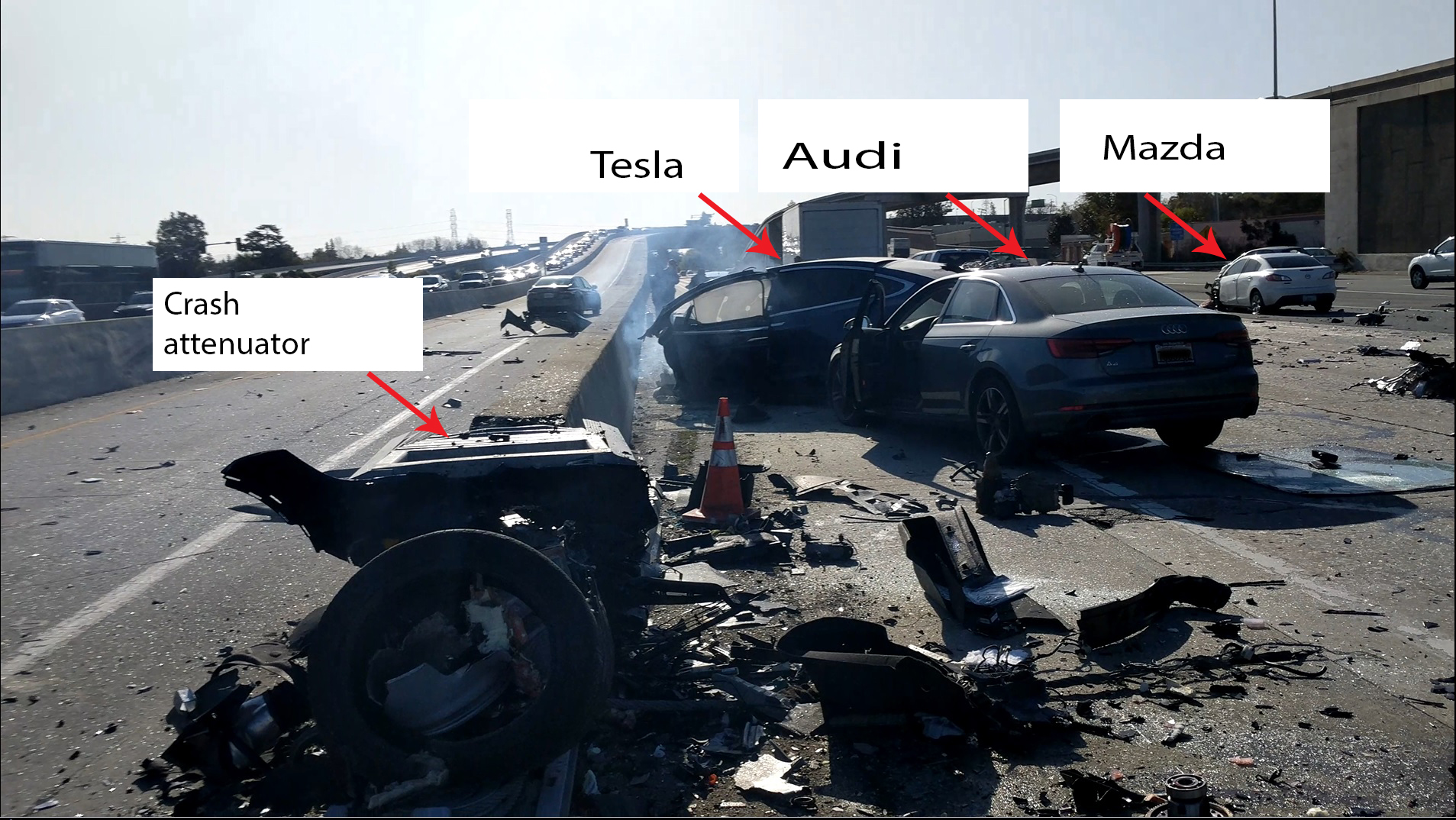 Photo of the final rest locations of the Tesla, Audi and Mazda vehicles.
