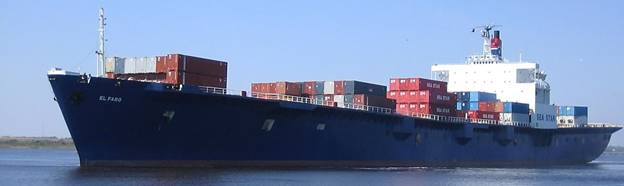 The freight vessel El Faro at sea, loaded with cargo containers.